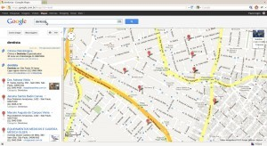 Dentistas no Google Maps (Firefox)