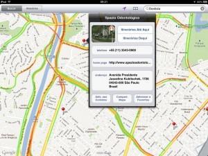 Dentistas na App Mapas (iPad)