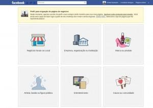 Criar página / Migrar perfil do Facebook